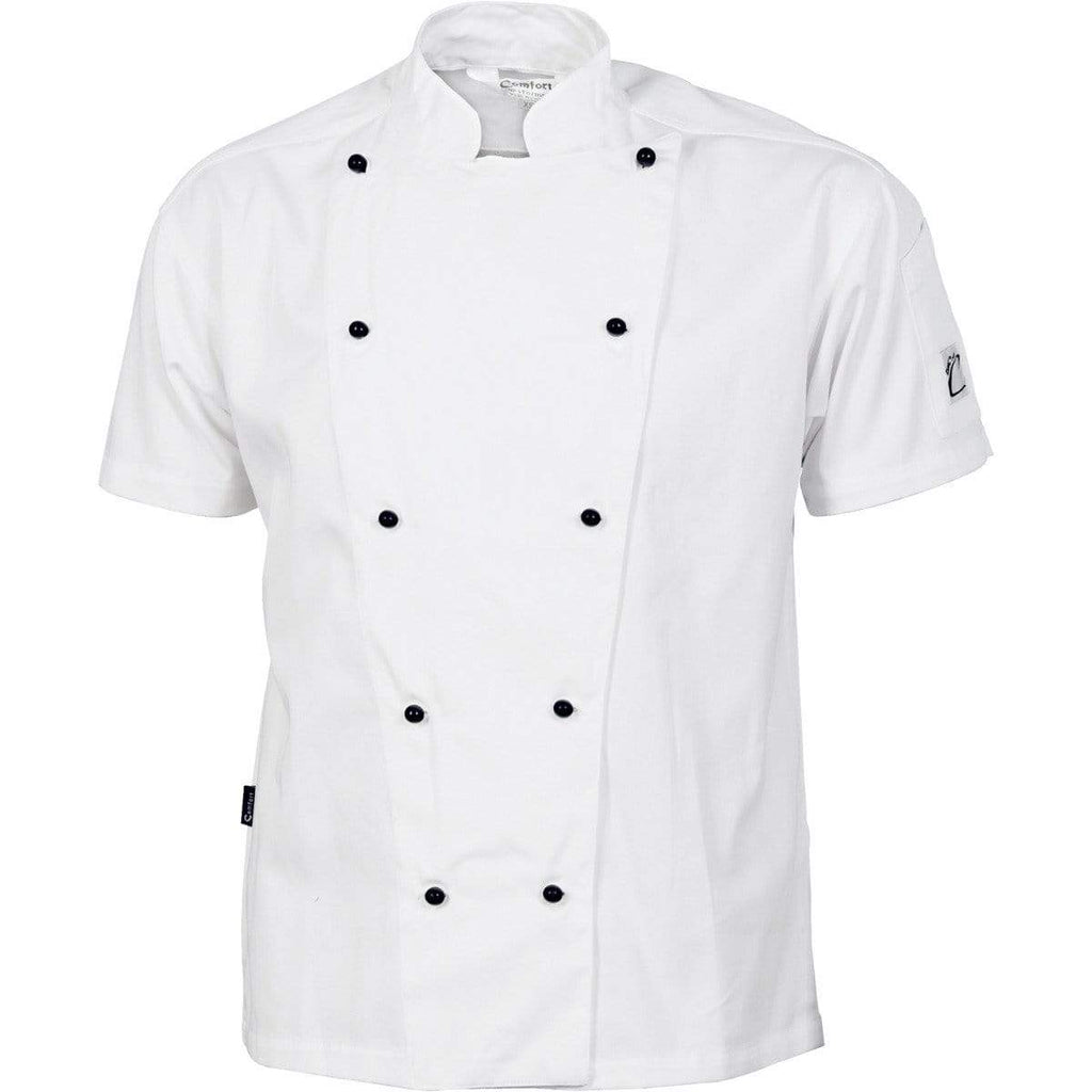 DNC Workwear Hospitality & Chefwear White / XS DNC WORKWEAR Cool-Breeze Cotton Short Sleeve Chef Jacket 1103