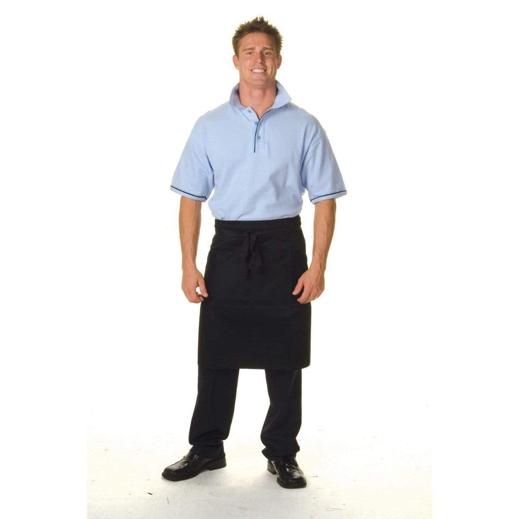 DNC Workwear Hospitality & Chefwear Black / 85cm x 58cm DNC WORKWEAR Cotton Drill Half Apron with Pocket 2201
