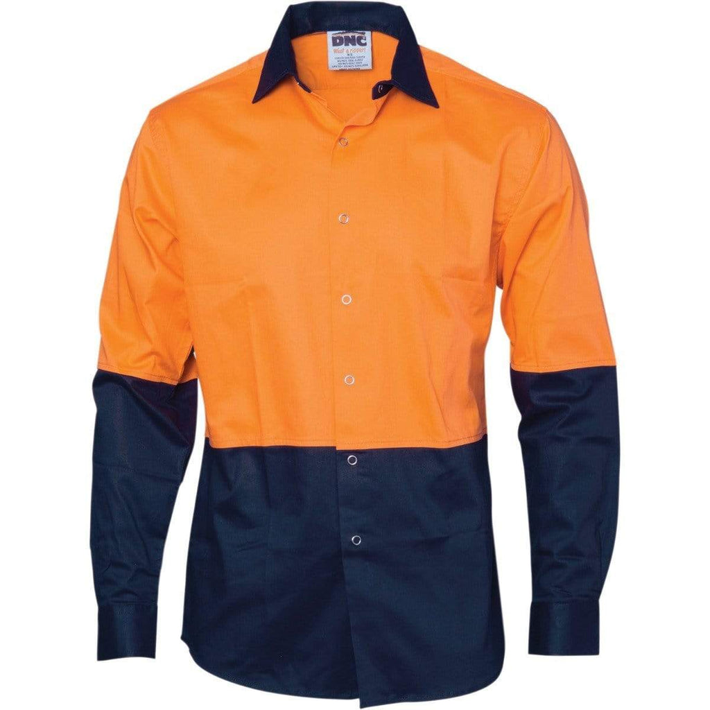 DNC Workwear Hospitality & Chefwear Orange/Navy / XS DNC WORKWEAR Hi-Vis Cool Breeze Food Industry Long Sleeve Cotton Shirt 3942