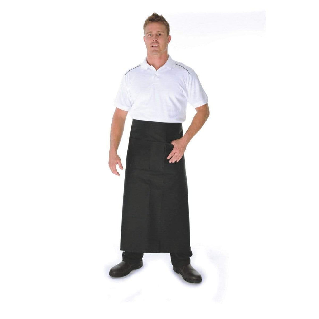 DNC Workwear Hospitality & Chefwear Black / 84cm X 90cm DNC WORKWEAR Polyester Cotton Continental Apron with Pocket 2411