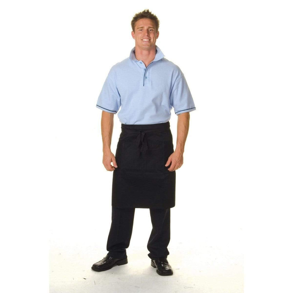 DNC Workwear Hospitality & Chefwear Black / 85cm x 58cm DNC WORKWEAR Polyester Cotton Half Apron with Pocket 2211