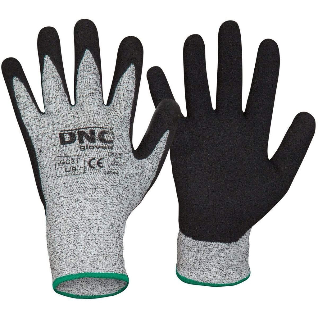 DNC Workwear PPE Black/Grey / XL/10 DNC WORKWEAR Cut5- Nitrile Sandy Shinish GC31