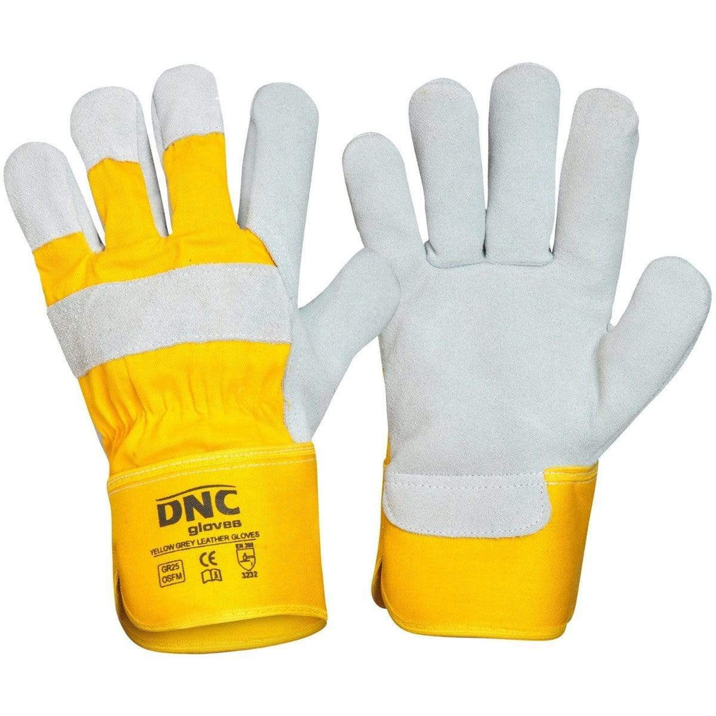DNC Workwear PPE Yellow/Black / One Size DNC WORKWEAR Yellow Grey  Leather Glove GR25