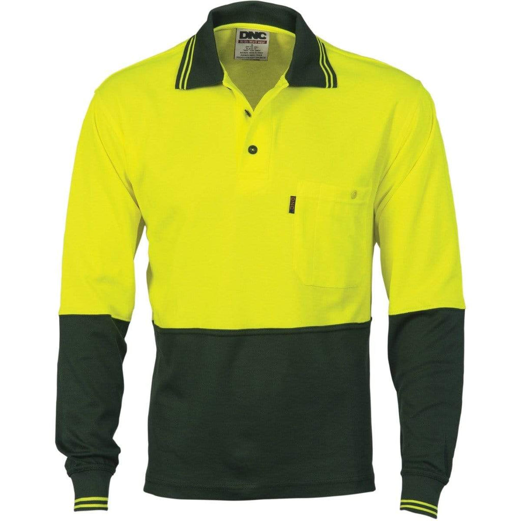 DNC Workwear Work Wear Yellow/Bottle Green / XS DNC WORKWEAR Cotton Back Hi-Vis Two-Tone Fluoro Long Sleeve Polo 3816