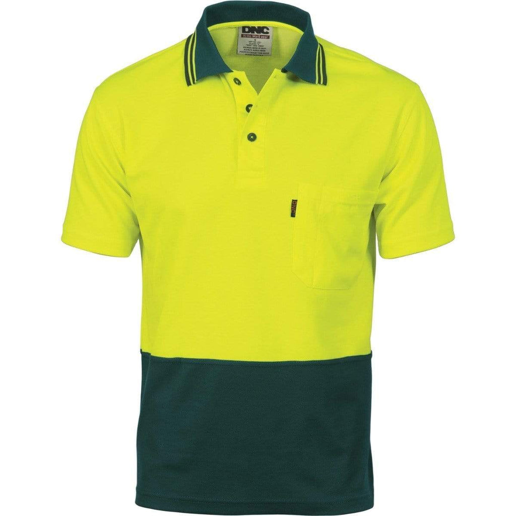 DNC Workwear Work Wear DNC WORKWEAR Cotton Back Hi-Vis Two-Tone Fluoro Short Sleeve Polo 3814