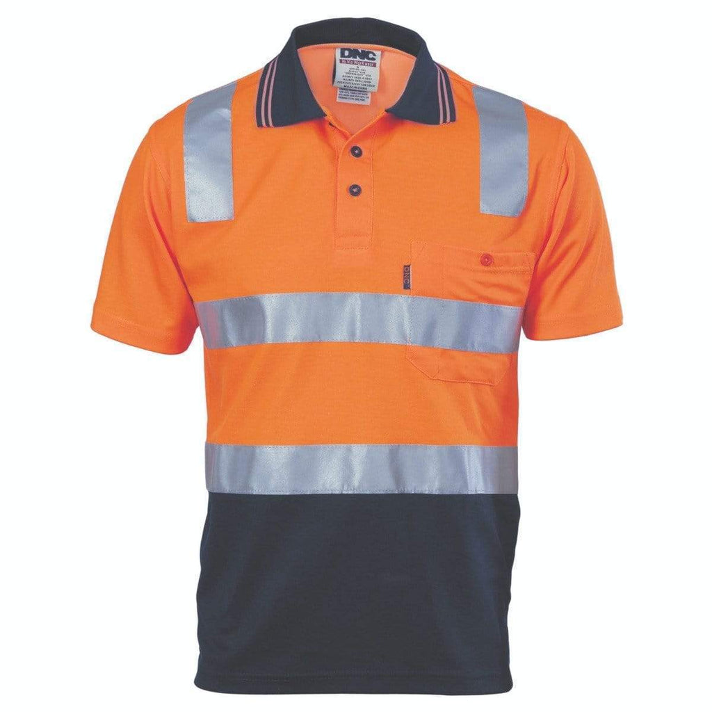 DNC Workwear Work Wear DNC WORKWEAR Cotton Back Hi-Vis Two-Tone Short Sleeve Polo Shirt with CSR Reflective Tape 3817