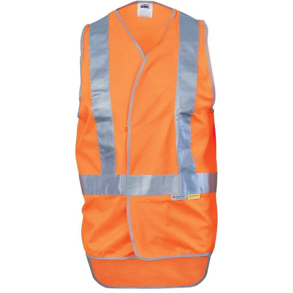 DNC Workwear Work Wear DNC WORKWEAR Day/Night Cross Back Safety Vest with Tail 3802