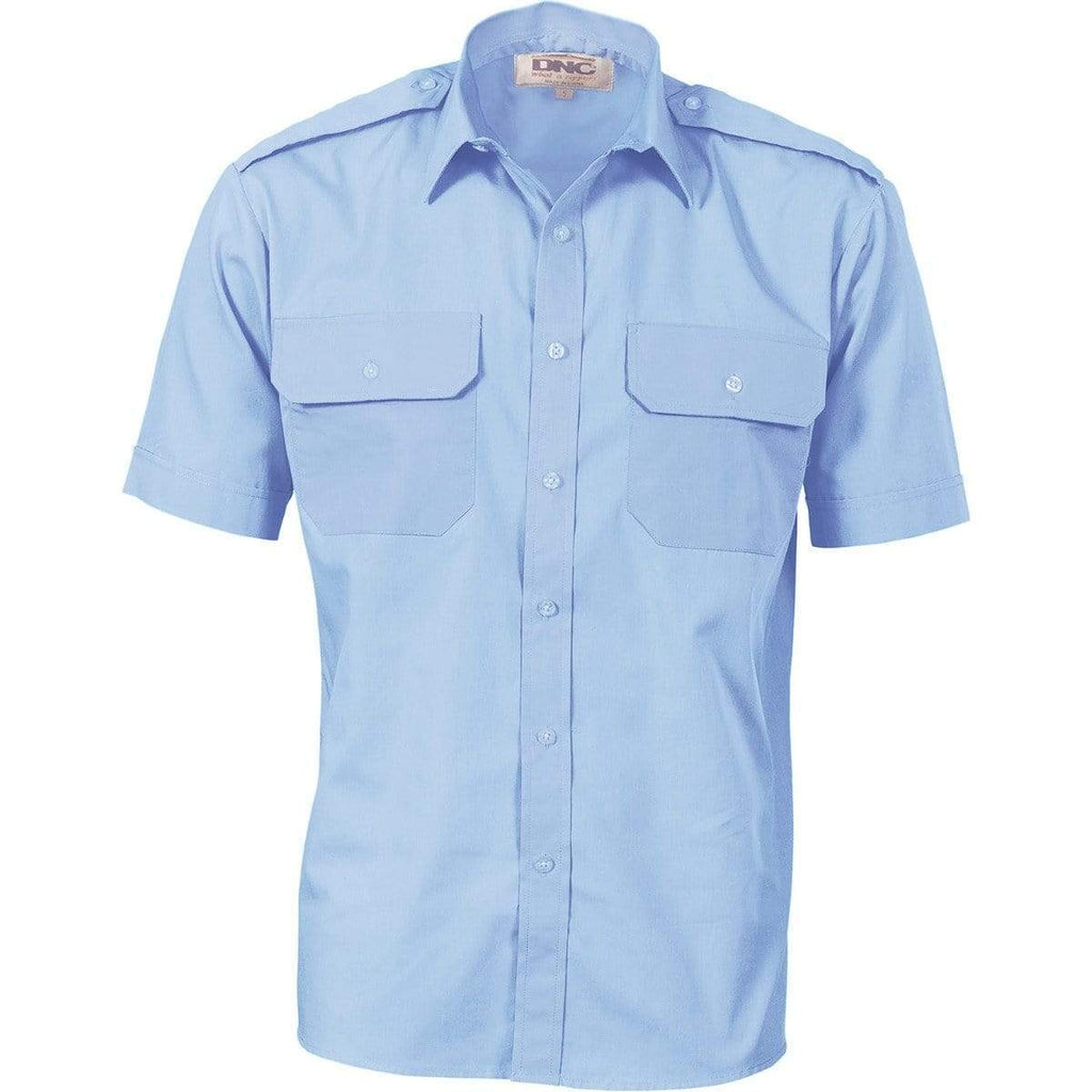 DNC Workwear Work Wear DNC WORKWEAR Epaulette Polyester/Cotton Short Sleeve Work Shirt 3213