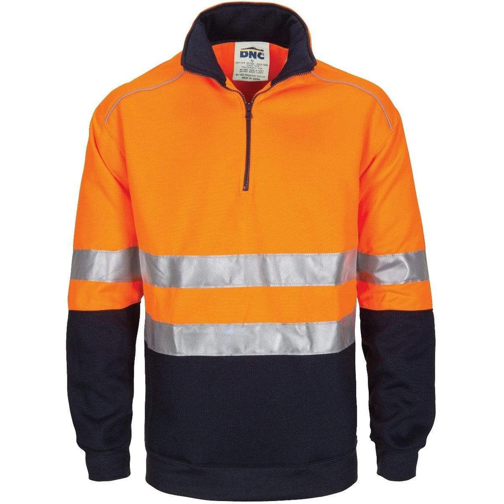 DNC Workwear Work Wear DNC WORKWEAR Hi-Vis 1/2 Zip Fleecy with Hoop Pattern CSR Reflective Tape 3729