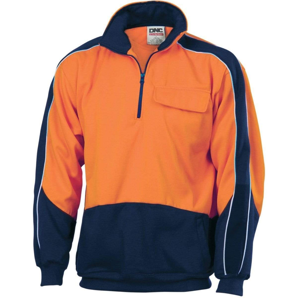 DNC Workwear Work Wear DNC WORKWEAR Hi-Vis 2 Tone 1/2 Zip Hi-Neck Panel Fleecy Windcheater 3823