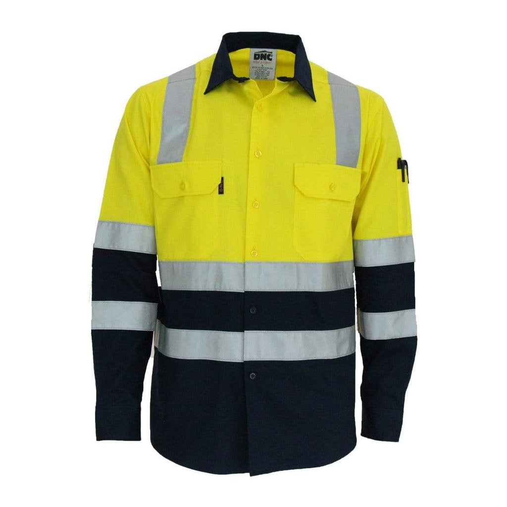 DNC Workwear Work Wear DNC WORKWEAR Hi-Vis 2-Tone Lightweight Long Sleeve Cotton Bio-Motion & X Back Shirt with CSR Reflective Tape 3547