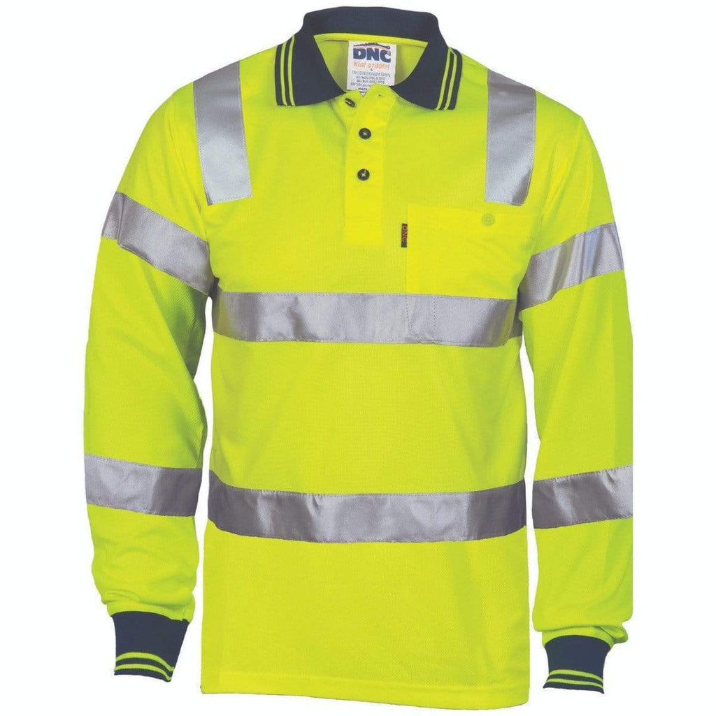 DNC Workwear Work Wear Yellow / S DNC WORKWEAR Hi-Vis Bio-motion Taped L/S Polo 3713