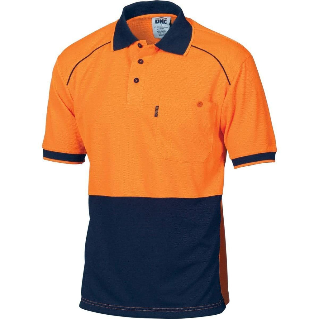 DNC Workwear Work Wear DNC WORKWEAR Hi-Vis Cool-Breathe Front Piping Short Sleeve Polo 3754