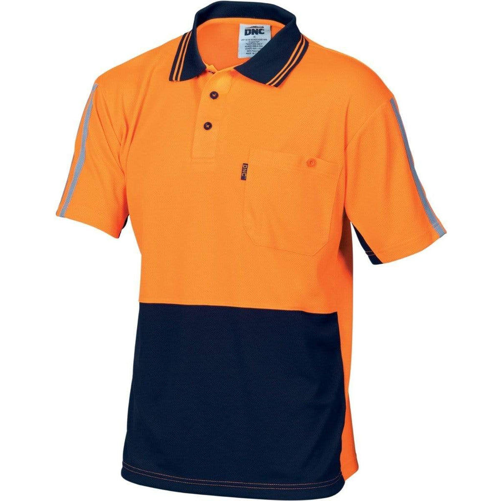 DNC Workwear Work Wear DNC WORKWEAR Hi-Vis Cool-Breathe Short Sleeve Stripe Polo 3755
