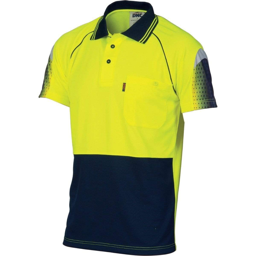 DNC Workwear Work Wear Yellow/Navy / XS DNC WORKWEAR Hi-Vis Cool-Breathe Sublimated Piping Short Sleeve Polo 3751