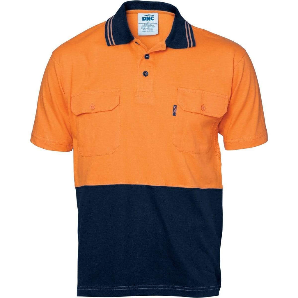 DNC Workwear Work Wear Orange/Navy / M DNC WORKWEAR Hi-Vis Cool-Breeze 2-Tone Cotton Jersey Short Sleeve Polo Shirt with Twin Chest Pocket 3943