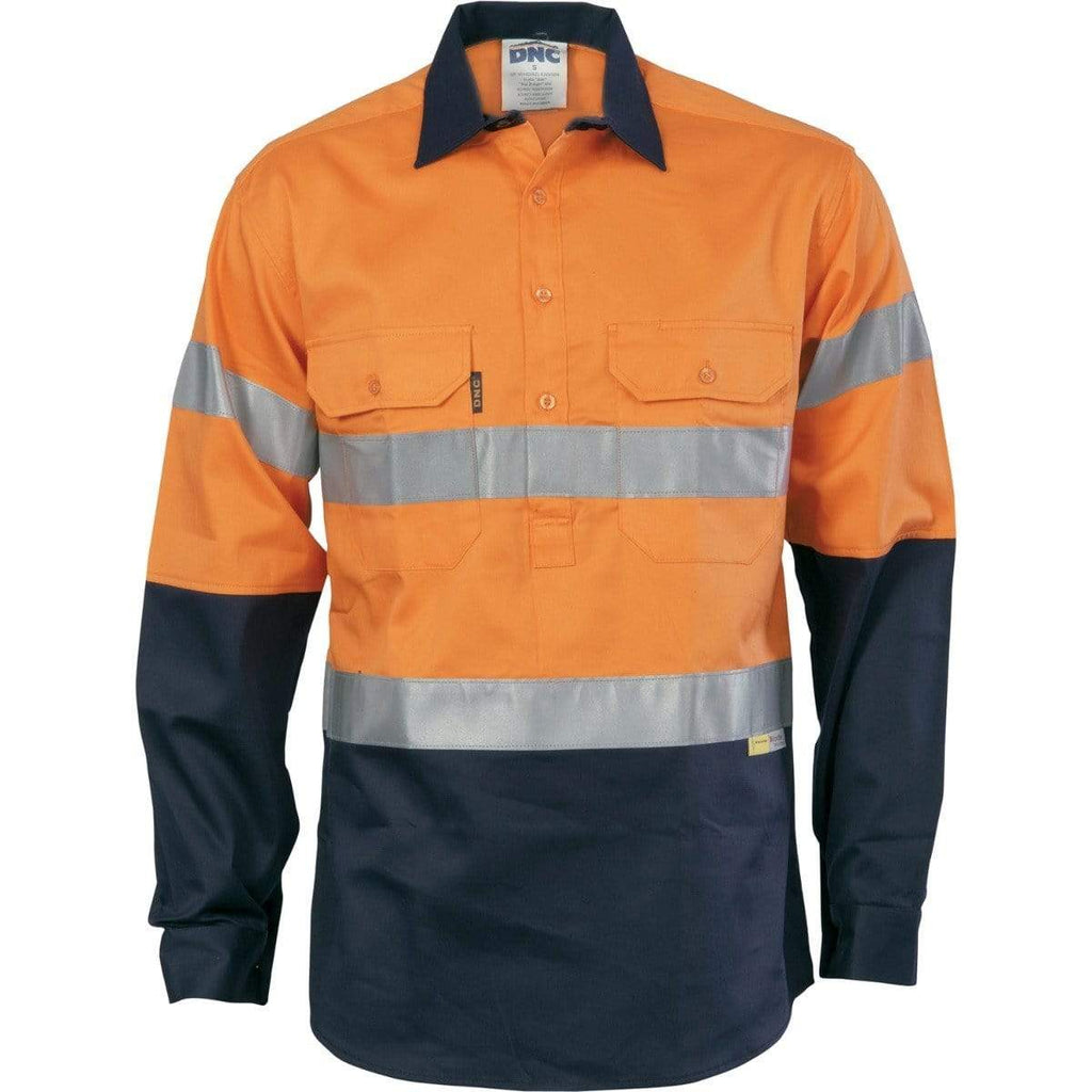 DNC Workwear Work Wear Orange/Navy / S DNC WORKWEAR Hi-Vis Cool-Breeze Close Front Long Sleeve Cotton Shirt with 3M Reflective Tape 3949