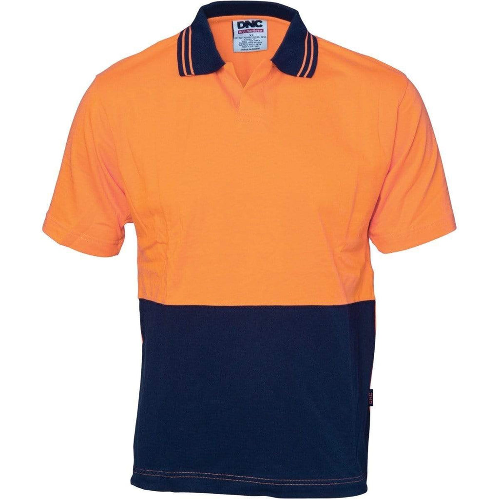 DNC Workwear Work Wear Orange/Navy / XS DNC WORKWEAR Hi-Vis Cool Breeze Cotton Jersey Food Industry Short Sleeve Polo 3905