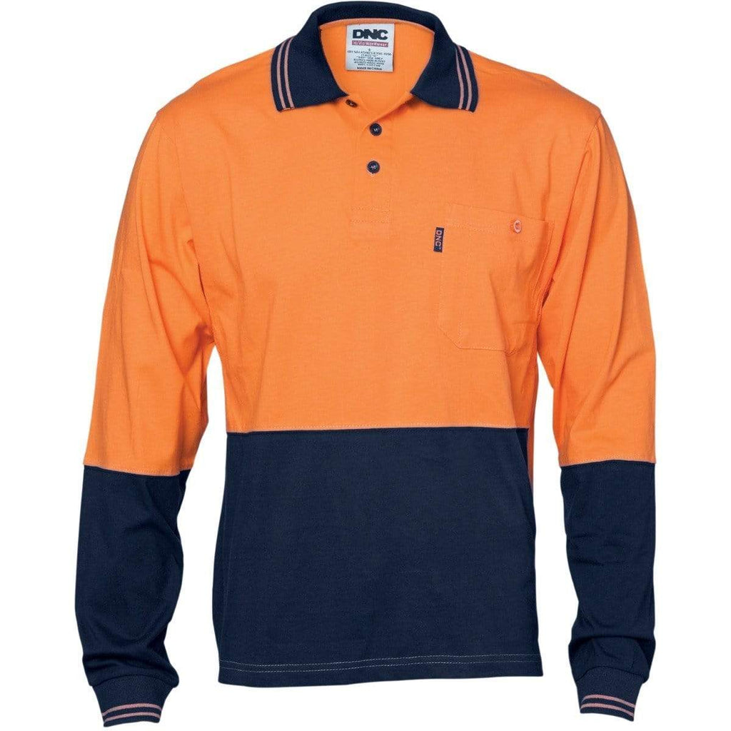 DNC Workwear Work Wear Orange/Navy / XS DNC WORKWEAR Hi-Vis Cool-Breeze Cotton Jersey Long Sleeve Polo Shirt with Underarm Cotton Mesh 3846