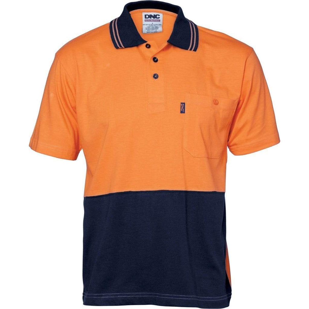 DNC Workwear Work Wear Orange/Navy / XS DNC WORKWEAR Hi-Vis Cool-Breeze Cotton Jersey Short Sleeve Polo Shirt with Underarm Cotton Mesh 3845