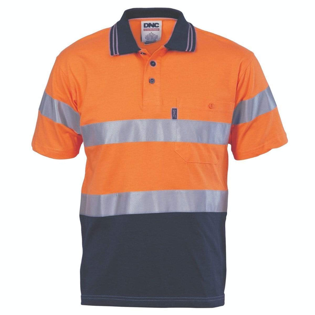 DNC Workwear Work Wear DNC WORKWEAR Hi-Vis Cool-Breeze Cotton Jersey Short Sleeve Polo with CSR Reflective Tape 3915