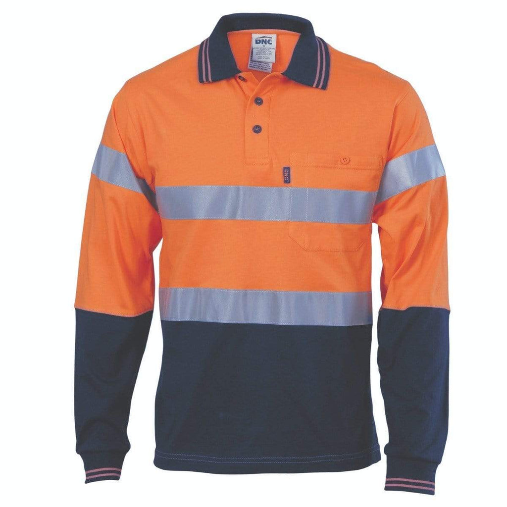 DNC Workwear Work Wear DNC WORKWEAR Hi-Vis Cool-Breeze Cotton Long Sleeve Jersey Polo with CSR Reflective Tape 3916