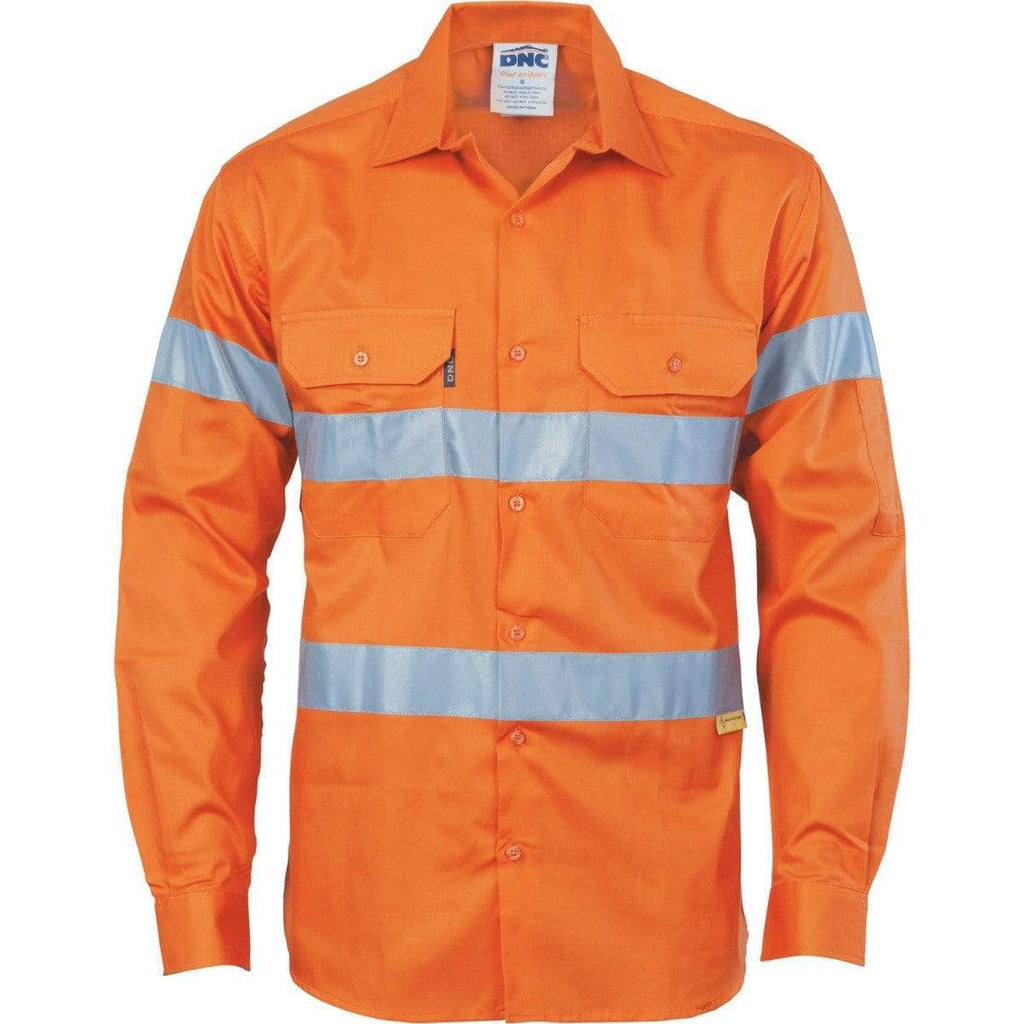 DNC Workwear Work Wear Orange / S DNC WORKWEAR Hi-Vis Cool-Breeze Cotton Long Sleeve Shirt with 3M 8910 Reflective Tape 3885