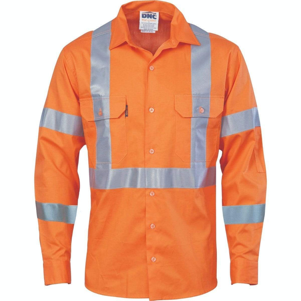DNC Workwear Work Wear DNC WORKWEAR Hi-Vis Cool-Breeze Long Sleeve Cotton Shirt with Double Hoop on Arms & 'X' Back CSR R/Tape 3789