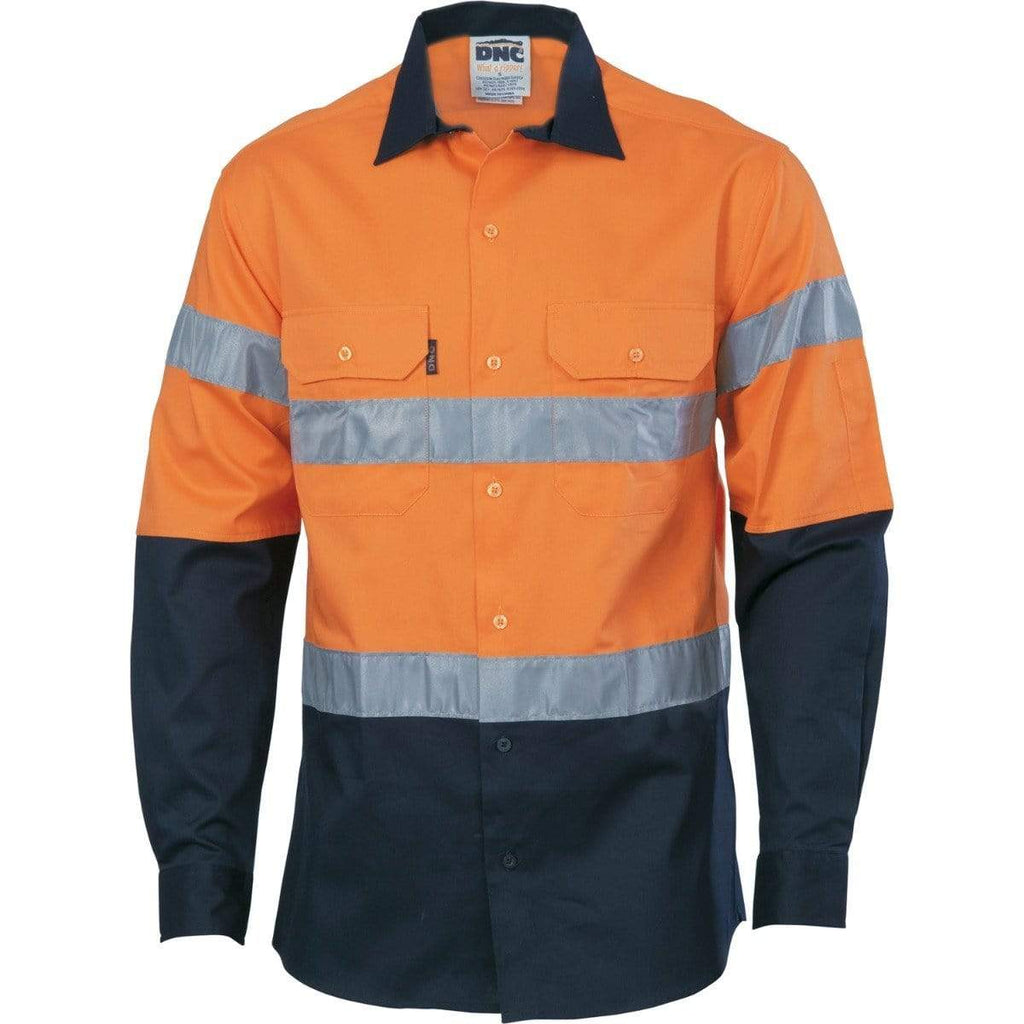 DNC Workwear Work Wear DNC WORKWEAR Hi-Vis Cool-Breeze Long Sleeve Cotton Shirt with Generic Reflective Tape 3966