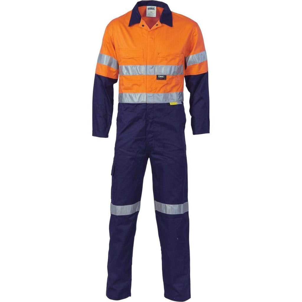 DNC Workwear Work Wear Orange/Navy / 77R DNC WORKWEAR Hi-Vis Cool-Breeze Two-Tone Lightweight Cotton Coverall with 3M Reflective Tape 3955