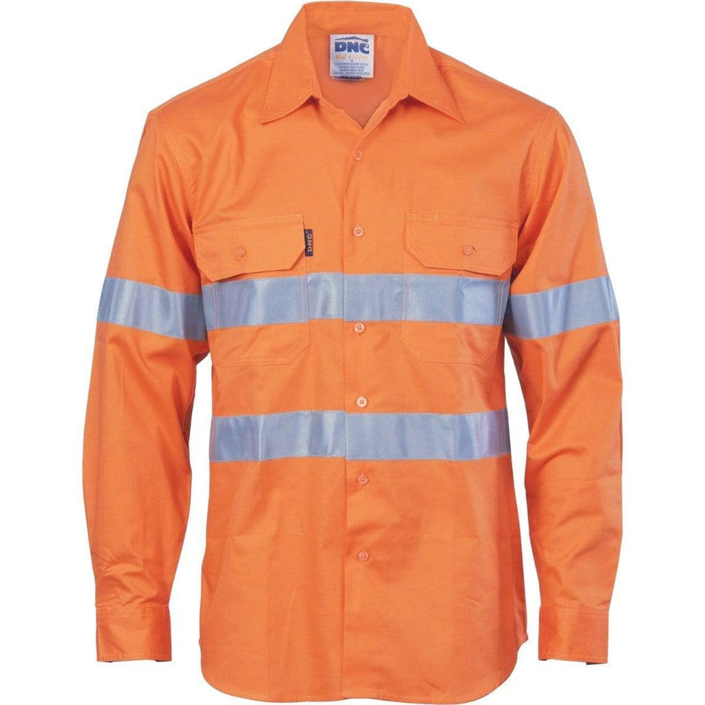 DNC Workwear Work Wear Orange / XS DNC WORKWEAR Hi-Vis Cool-Breeze Vertical Vented Long Sleeve Cotton Shirt with Generic Reflective Tape 3985