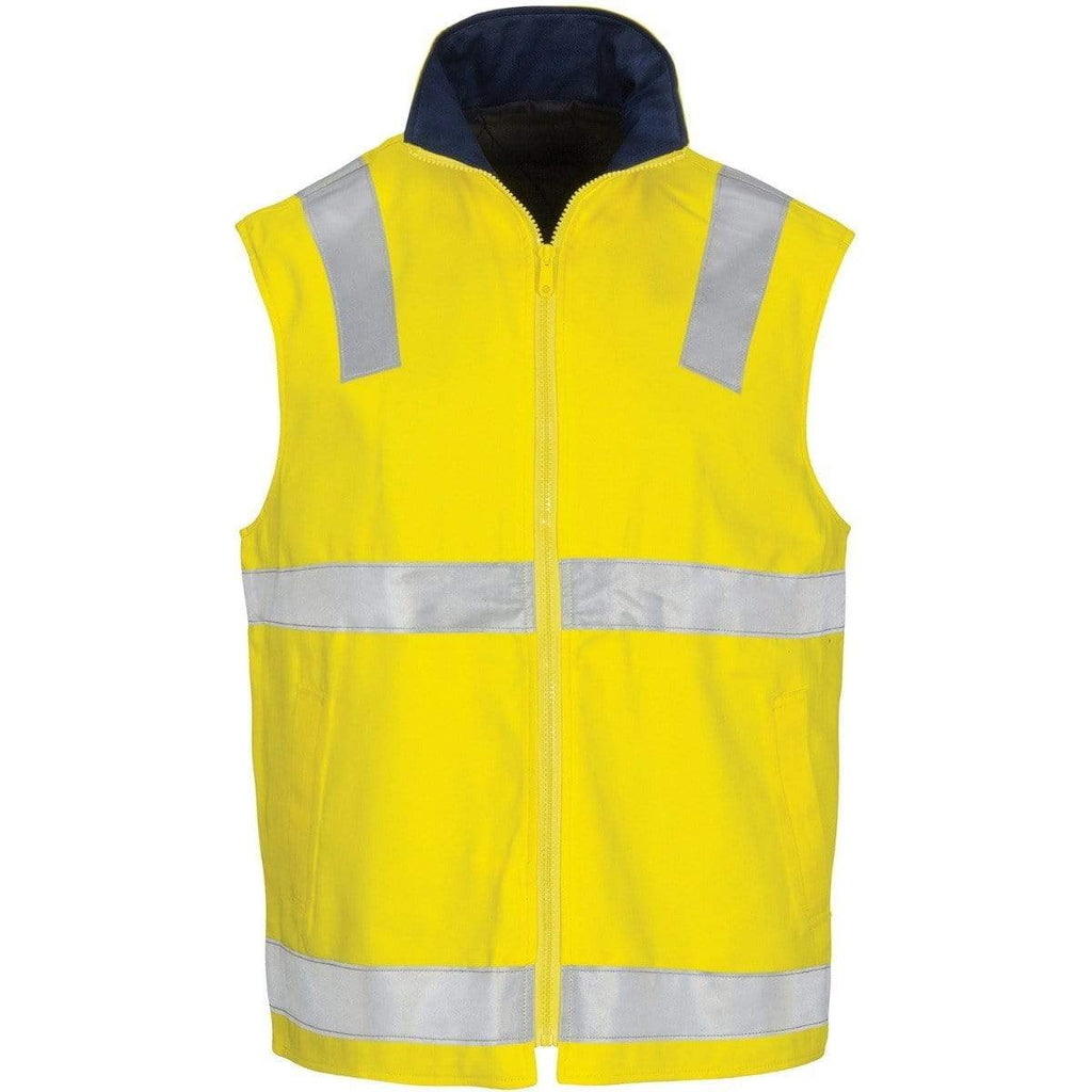 DNC Workwear Work Wear Yellow/Navy / XS DNC WORKWEAR Hi-Vis Cotton Drill Reversible Vest with Generic Reflective Tape 3765