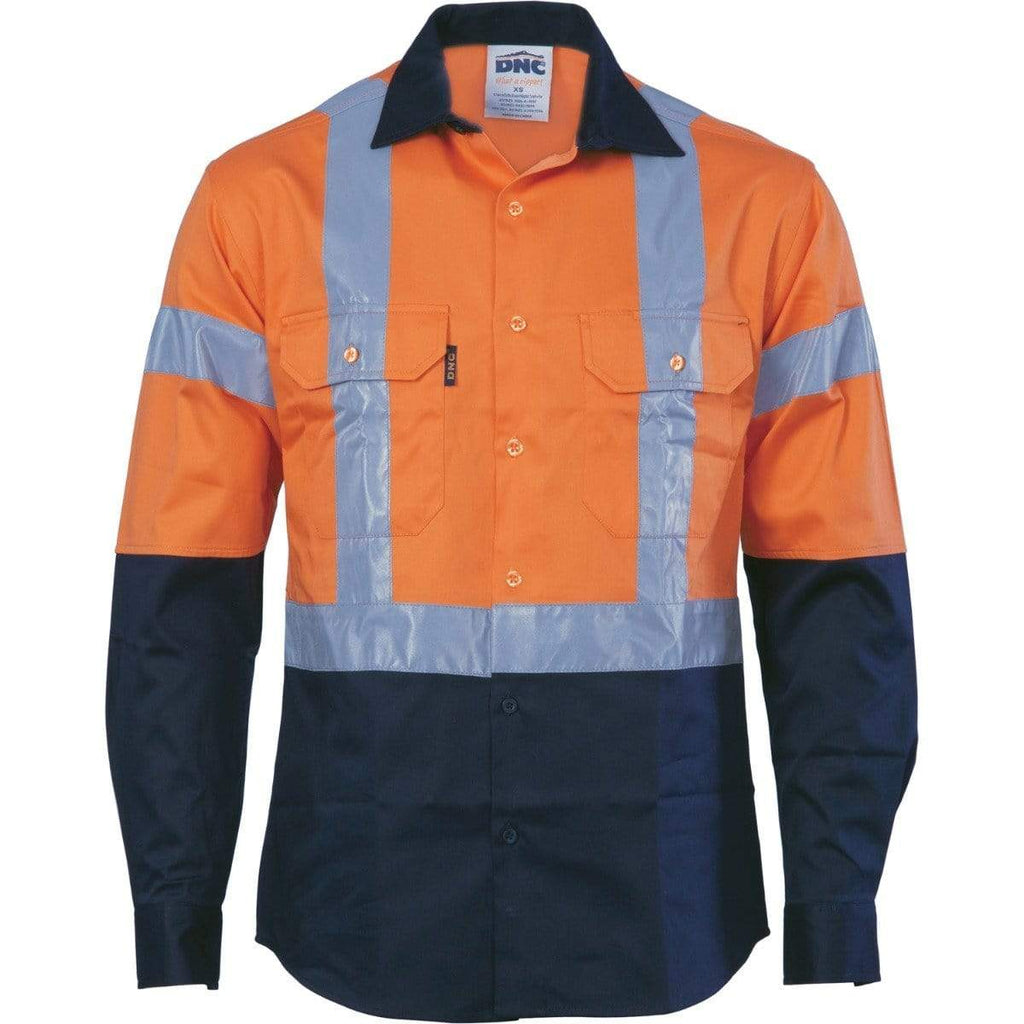 DNC Workwear Work Wear DNC WORKWEAR Hi-Vis D/N 2 Tone Long Sleeve Drill Shirt with H Pattern Generic R/ Tape 3983