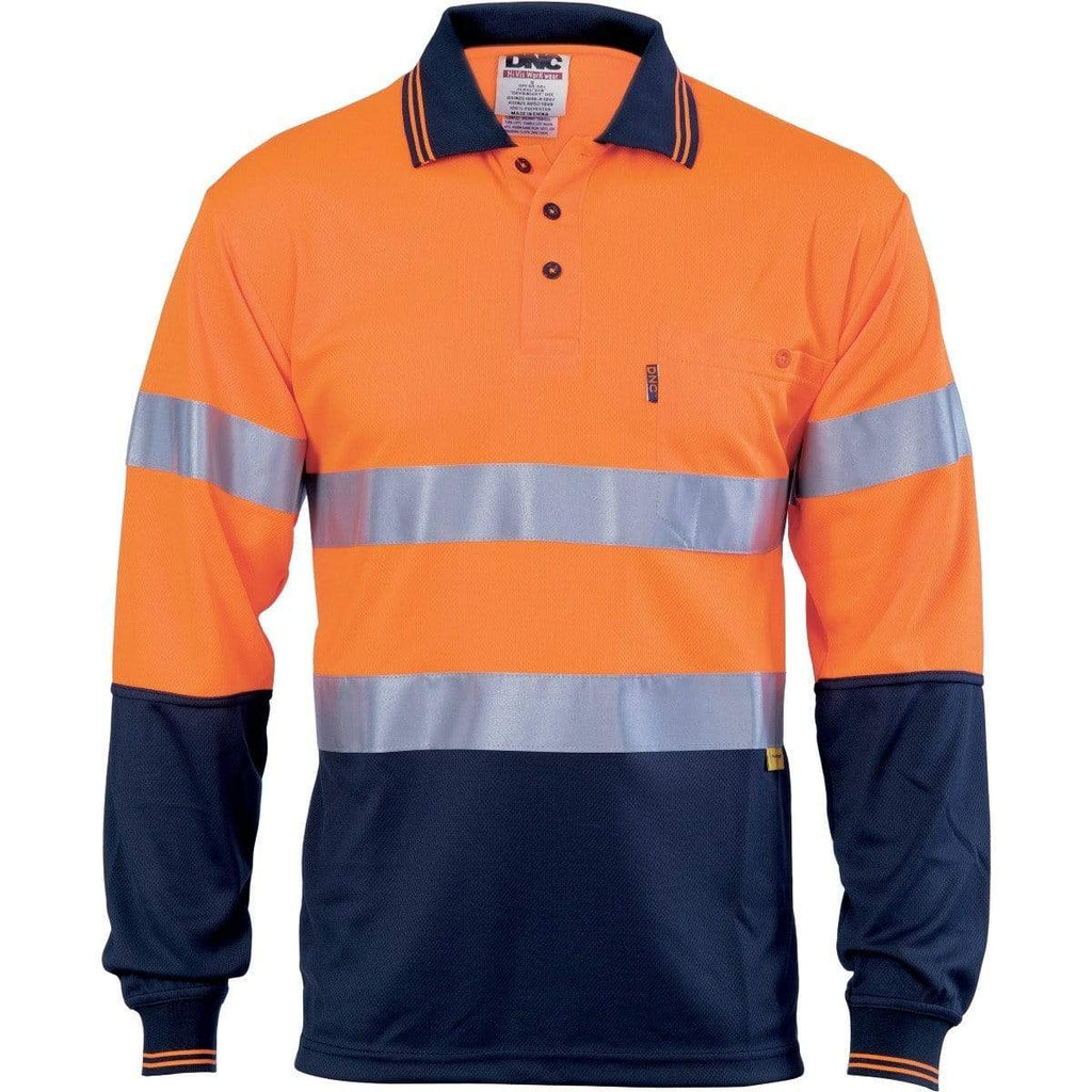 DNC Workwear Work Wear Orange/Navy / XS DNC WORKWEAR Hi-Vis D/N Cool-Breathe Long Sleeve Polo Shirt With 3M 8906 R/Tape 3913
