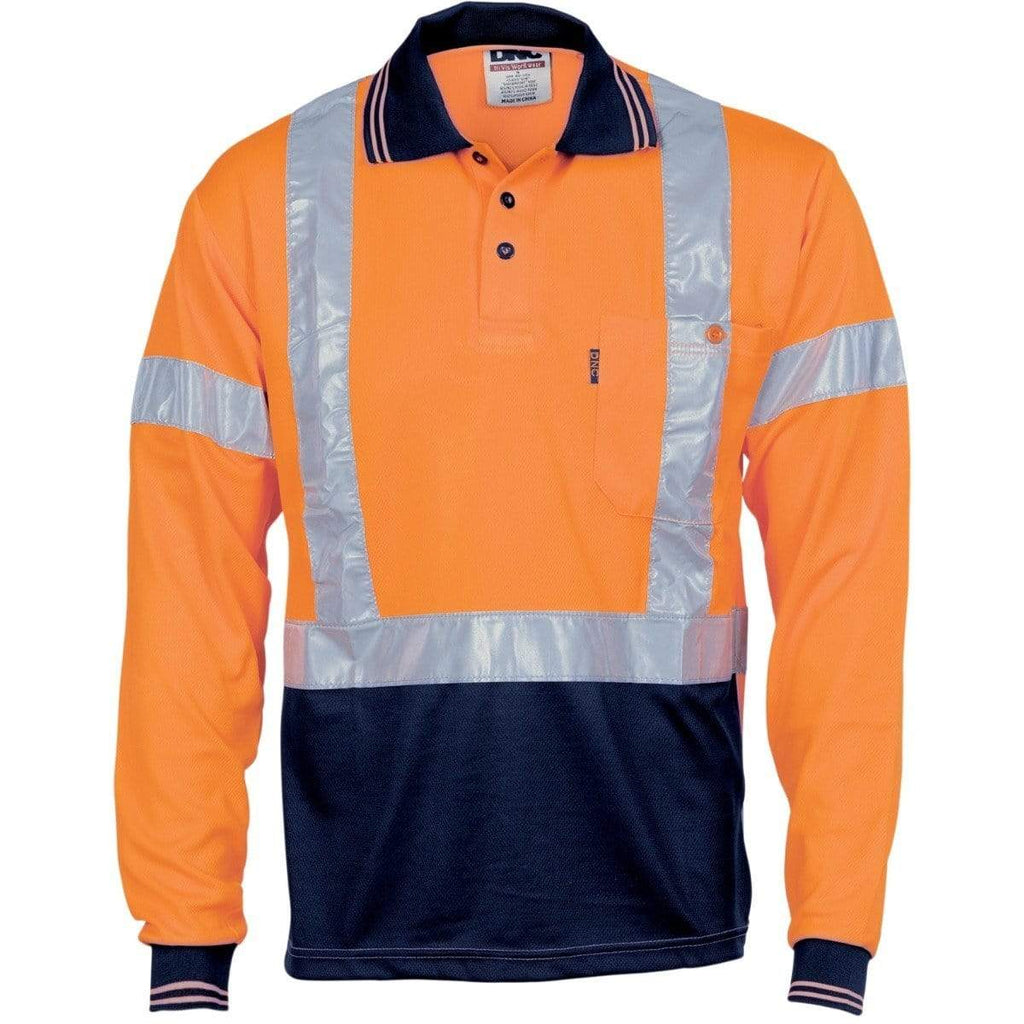 DNC Workwear Work Wear Orange / XS DNC WORKWEAR Hi-Vis D/N Cool Breathe Long Sleeve Polo Shirt with Cross Back Reflective Tape 3714