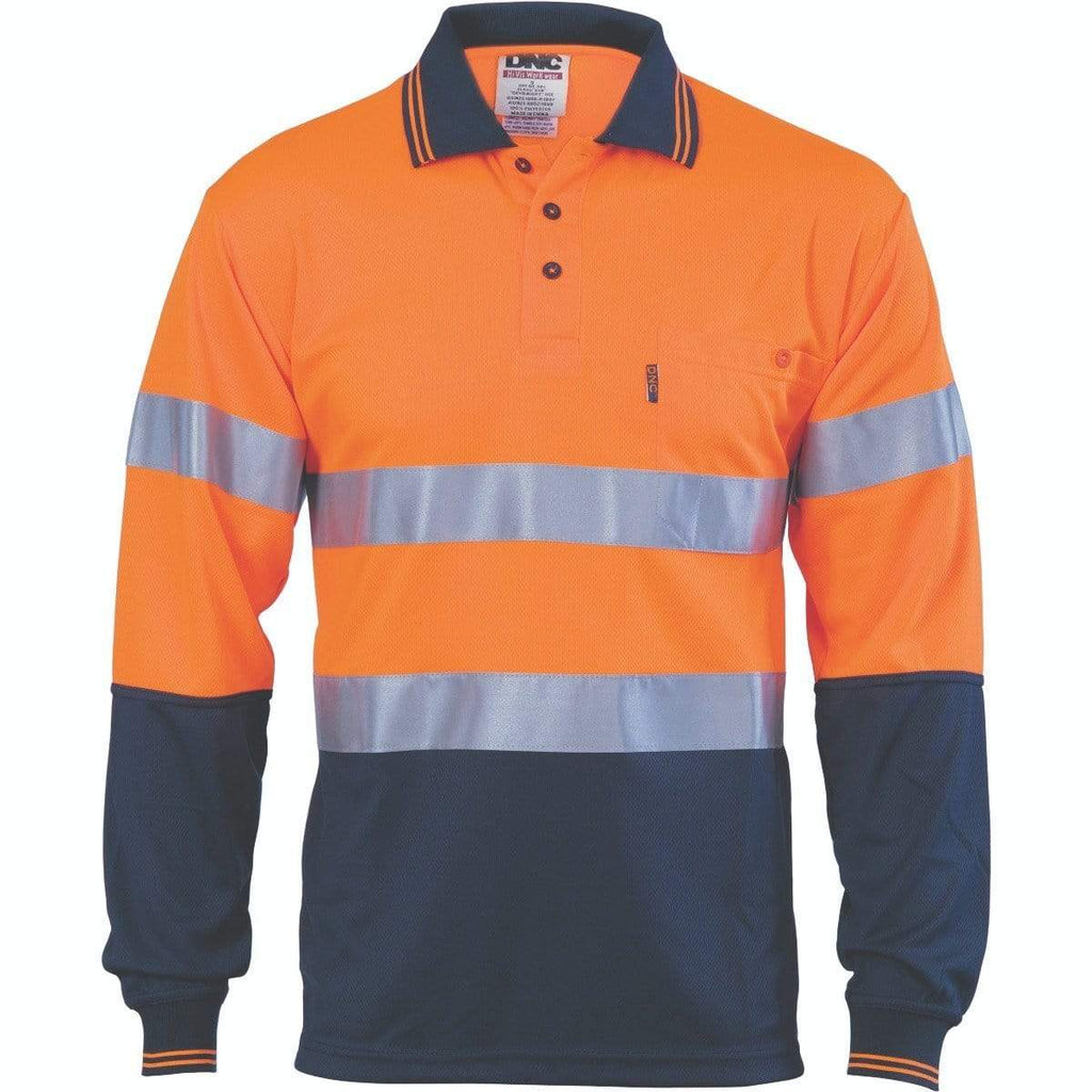 DNC Workwear Work Wear DNC WORKWEAR Hi-Vis D/N Cool Breathe Long Sleeve Polo Shirt with CSR R/Tape 3716