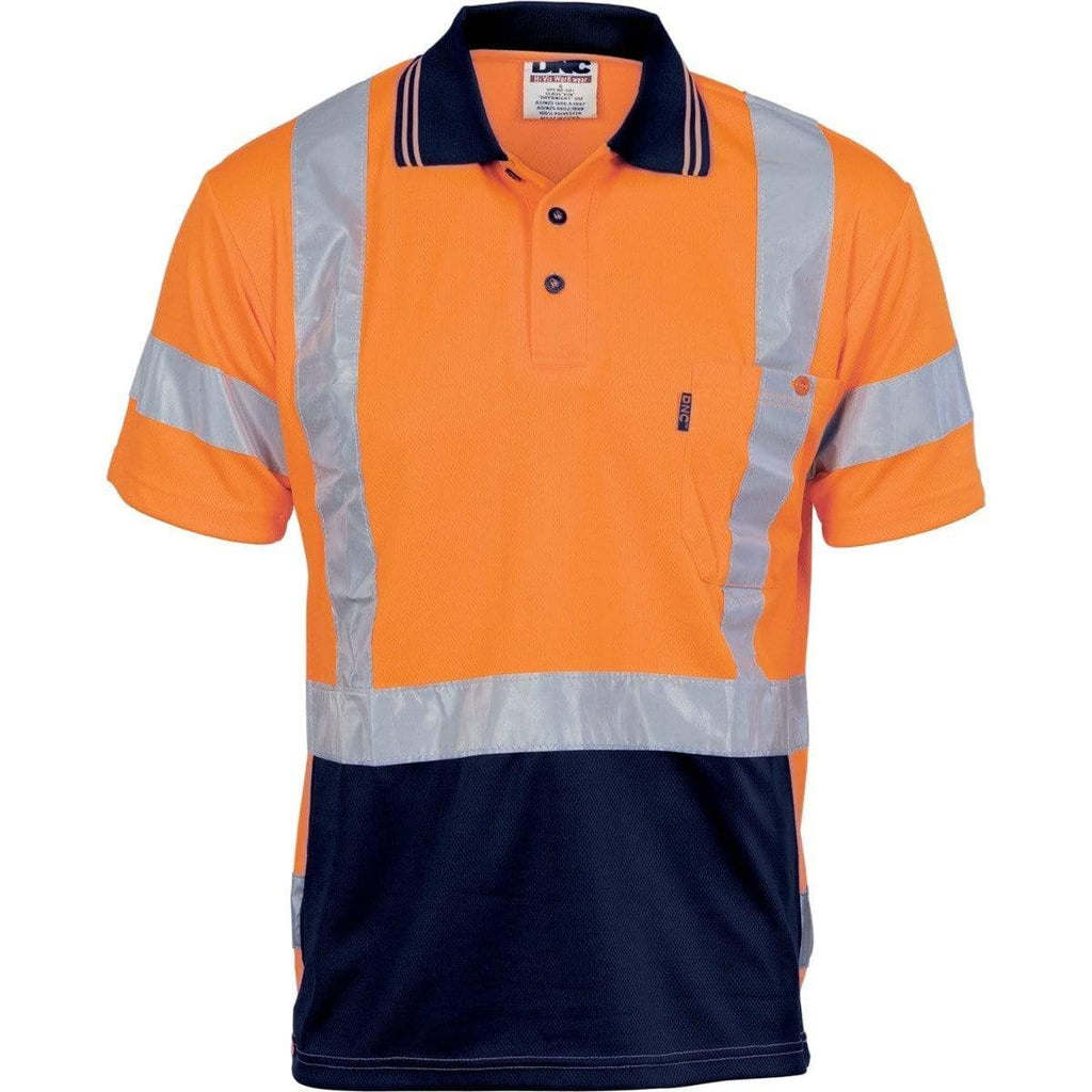 DNC Workwear Work Wear DNC WORKWEAR Hi-Vis D/N Cool Breathe Short Sleeve Polo Shirt with Cross-back Reflective Tape 3712