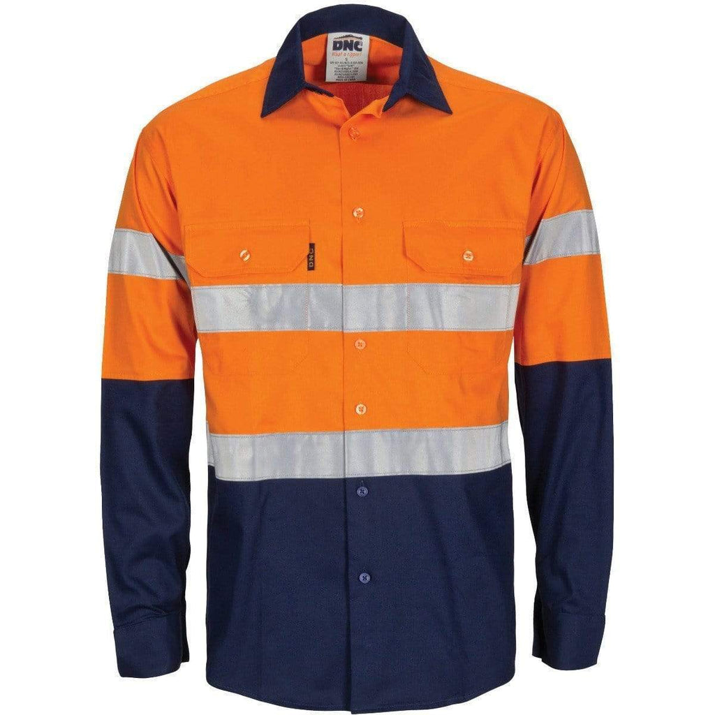 DNC Workwear Work Wear Orange/Navy / XS DNC WORKWEAR Hi-Vis Lightweight Cool-Breeze T2 Vertical Vented Cotton Shirt with Long Gusset Sleeves and Generic Tape 3784