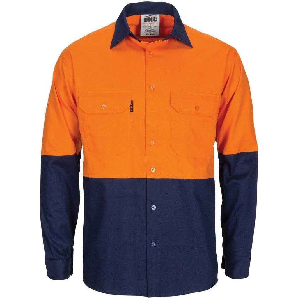 DNC Workwear Work Wear DNC WORKWEAR Hi-Vis R/W Cool-Breeze T2 Vertical Vented Long Sleeve Cotton Shirt with Gusset Sleeves 3781