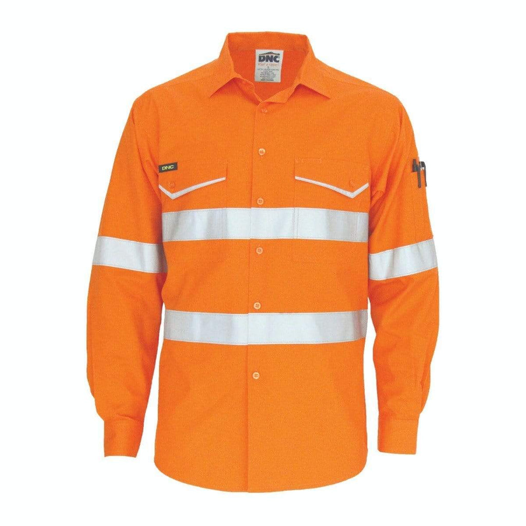 DNC Workwear Work Wear DNC WORKWEAR Hi-Vis Ripstop Cotton Cool Long Sleeve Shirt with CSR Reflective Tape 3590