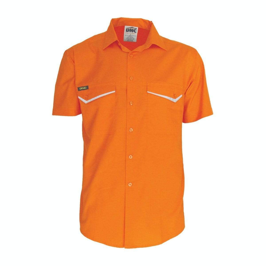 DNC Workwear Work Wear Orange / XS DNC WORKWEAR Hi-Vis Ripstop Short Sleeve Shirt 3583