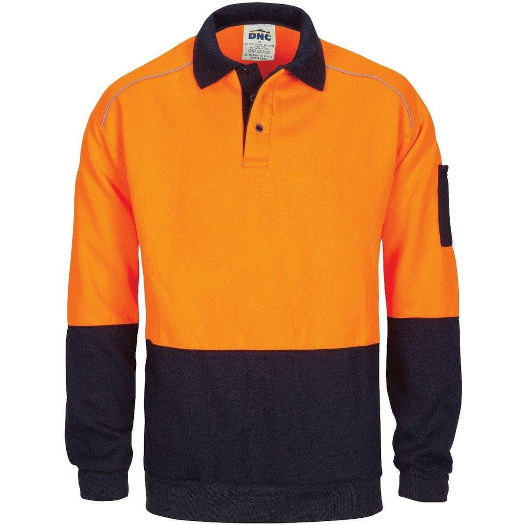 DNC Workwear Work Wear Orange/Navy / XS DNC WORKWEAR Hi-Vis Rugby Top Windcheater with Two Side Zipped Pockets 3727