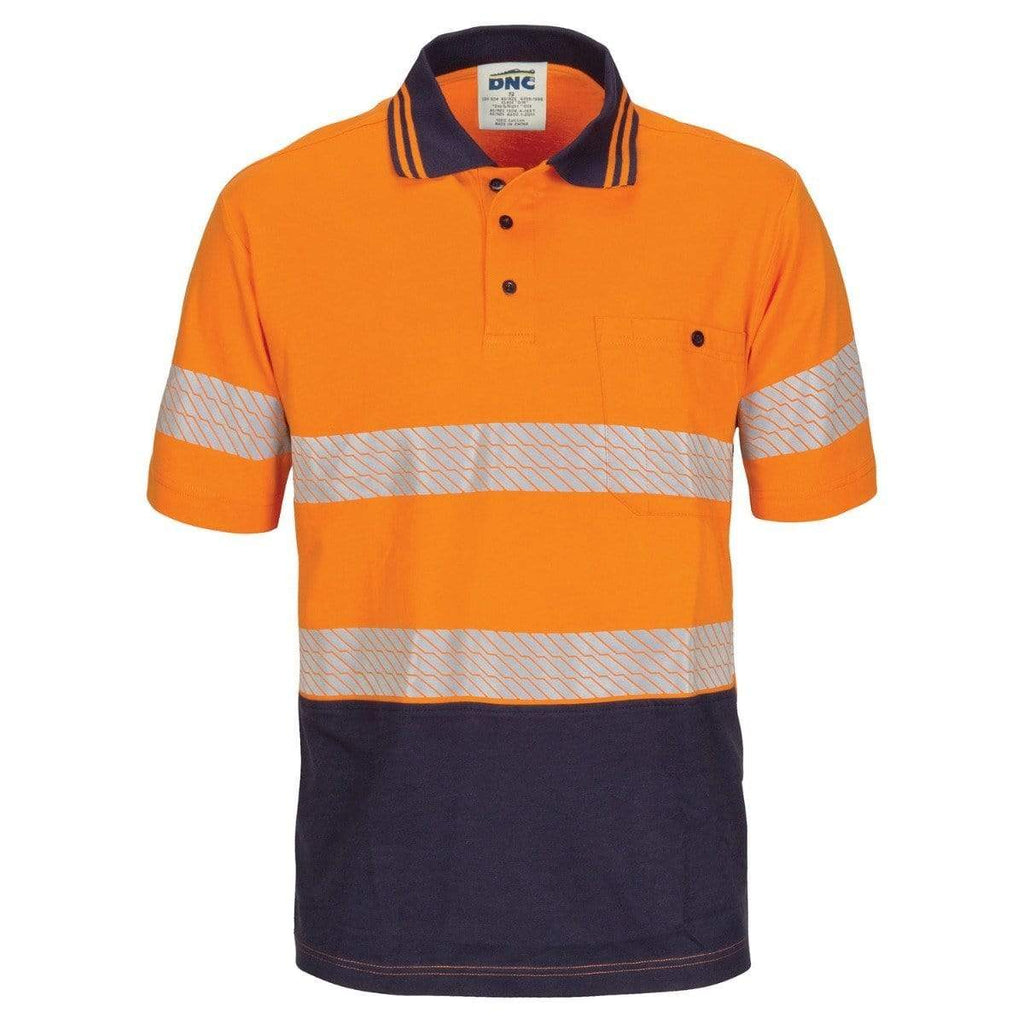 DNC Workwear Work Wear DNC WORKWEAR Hi-Vis Segment Taped Short Sleeve Cotton Jersey Polo 3515