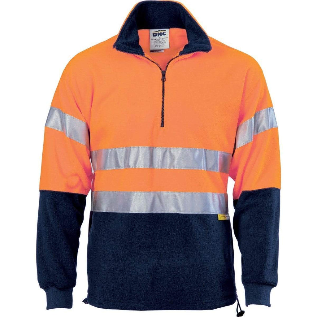 DNC Workwear Work Wear DNC WORKWEAR Hi-Vis Two-Tone 1/2 Zip Polar Fleece with 3M Reflective Tape 3829