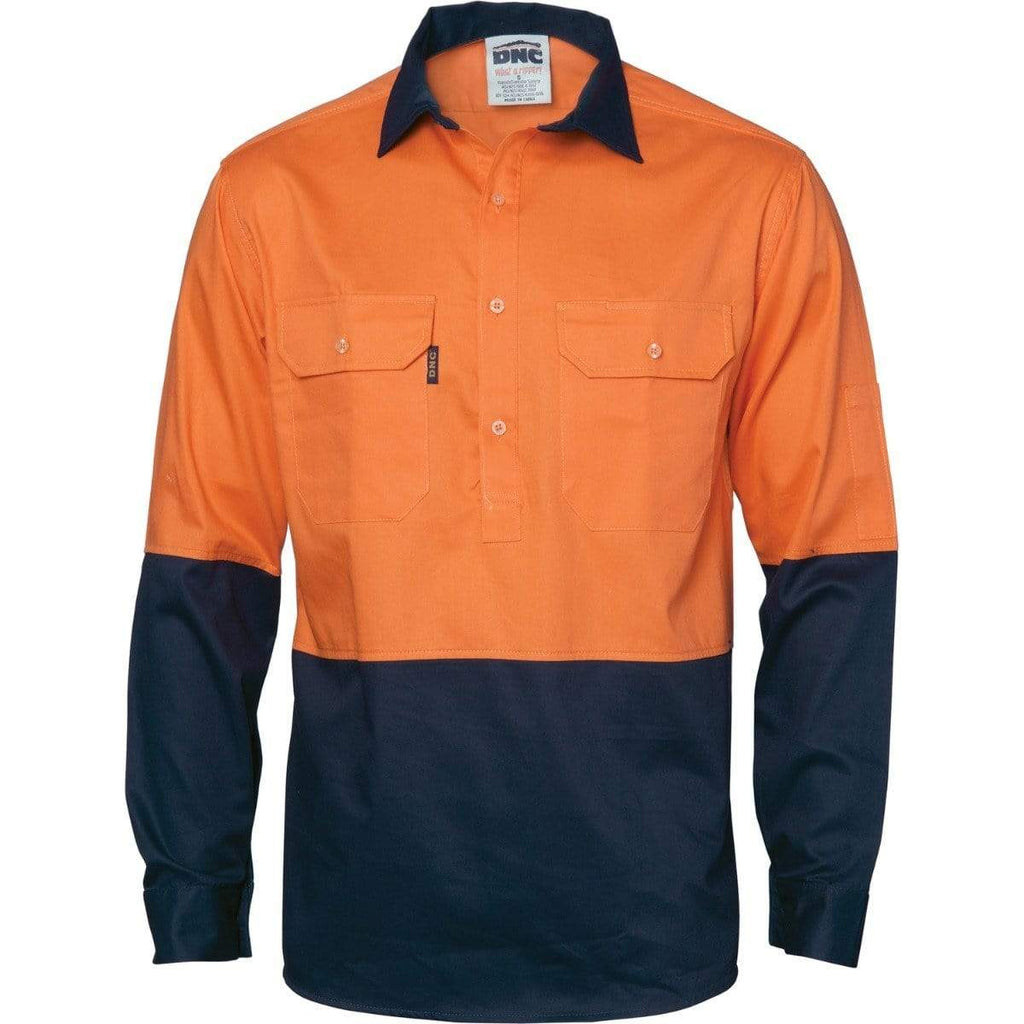 DNC Workwear Work Wear DNC WORKWEAR Hi-Vis Two-Tone Close Front Cotton Drill Long Sleeve Shirt - Gusset Sleeve 3834