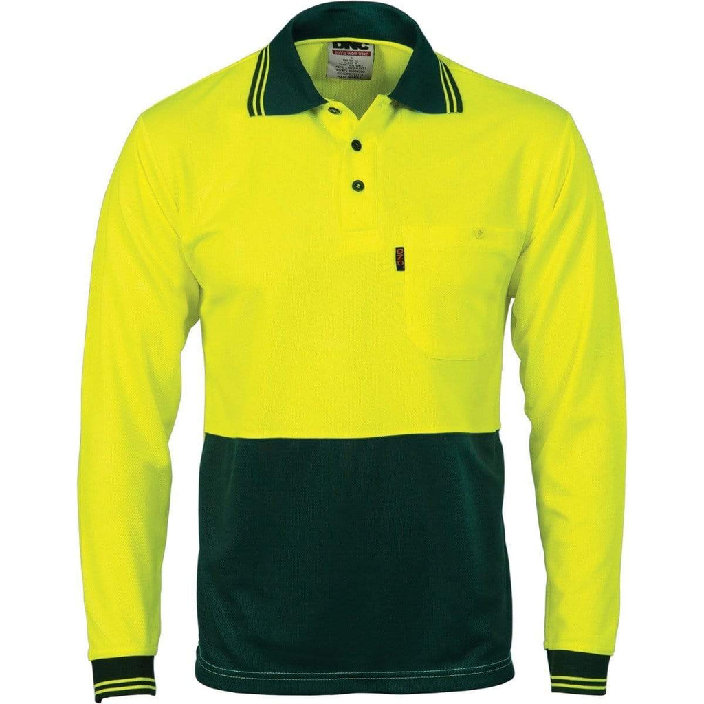 DNC Workwear Work Wear Yellow/Bottle Green / XS DNC WORKWEAR Hi-Vis Two Tone Cool Breathe Long Sleeve Polo Shirt 3813