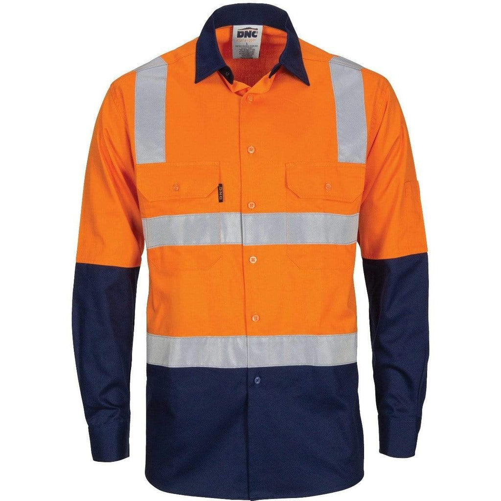 DNC Workwear Work Wear DNC WORKWEAR Hi-Vis Two-Tone Cool-Breeze Long Sleeve Cotton Shirt with Hoop & Shoulder CSR Reflective Tape 3747