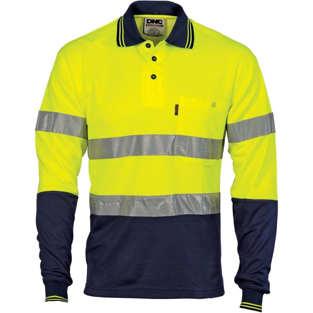 DNC Workwear Work Wear DNC WORKWEAR Hi-Vis Two Tone Cotton Back Long Sleeve Polo with Generic Reflective Tape 3718