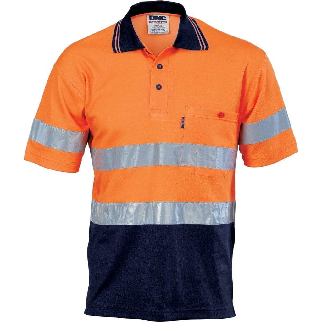 DNC Workwear Work Wear DNC WORKWEAR Hi-Vis Two-Tone Cotton Back Short Sleeve Polo with Generic Reflective Tape 3717