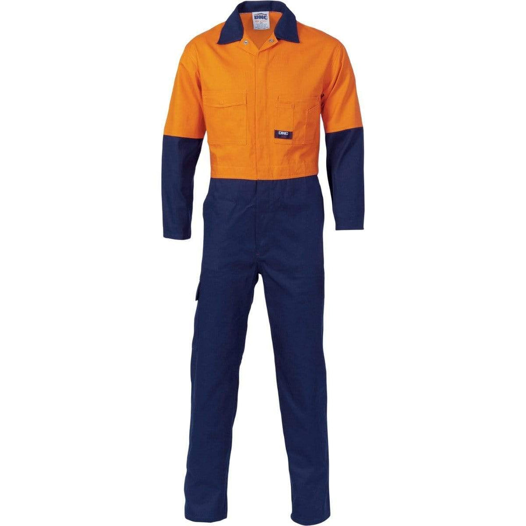 DNC Workwear Work Wear Orange/Navy / 77R DNC WORKWEAR Hi-Vis Two-Tone Cotton Coverall 3851